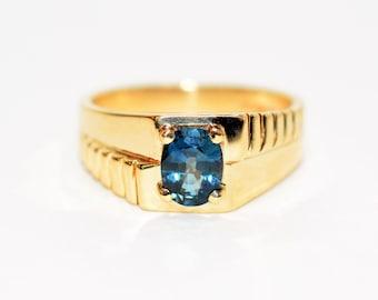 Ceylon Sapphire 1.62ct 10kt Yellow Gold Solitaire Gemstone Statement Men's Ring
