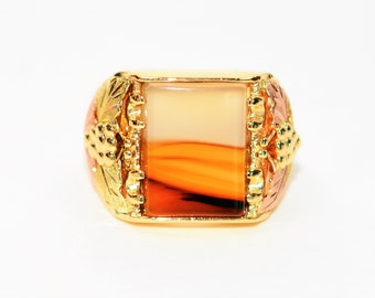 Agate 10kt Yellow Gold Black Hills Gold Gemstone Statement Men's Ring