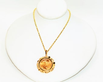 Diamond .03ct 22kt American Eagle Gold Coin 14kt Yellow Gold Pendant Necklace