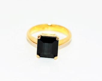 Indicolite Tourmaline 4.54ct 18kt Yellow Gold Solitaire Dark Gemstone Women's Ring