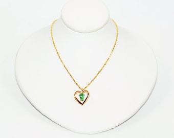 Paraiba Tourmaline .45ct 14kt Yellow Gold Heart Solitaire Pendant Women's Necklace
