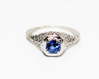 Ceylon Sapphire .73ct 19kt White Gold Solitaire Antique Filigree Women's Ring