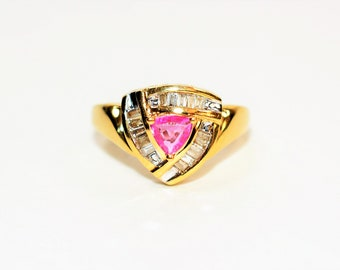 Pink Tourmaline & Diamond .82tcw 14kt Yellow Gold Women's Ring