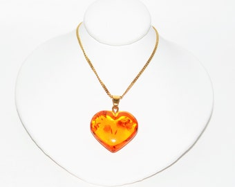 Natural Amber 14kt Yellow Gold Heart Shaped Gemstone Pendant Women's Necklace