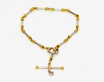 Diamond .06ct 18kt Yellow & White Gold Two-Tone Toggle Statement Women's Bracelet