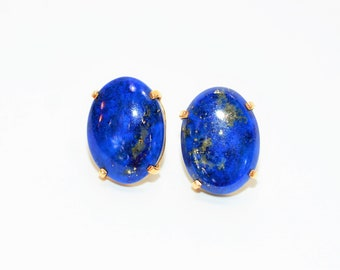 Lapis Lazuli 14kt Yellow Gold Solitaire Large Oval Gemstone Stud Women's Earrings