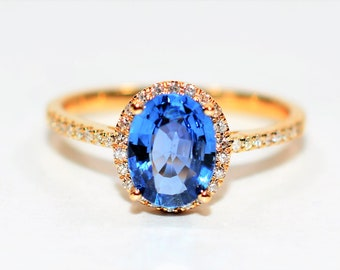 Ceylon Sapphire & Diamond 1.98tcw 14kt Yellow Gold Pave Halo Women's Ring