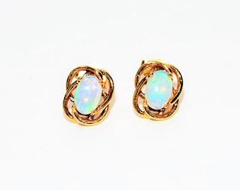 Ethiopian Opal .80tcw 14kt Yellow Gold Solitaire Stud Gemstone Women's Earrings