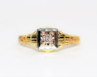 Diamond .14ct 14k Yellow & White Gold Antique Solitaire Engagement Women's Ring