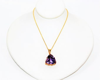 Siberian Amethyst 9.15ct 14kt Yellow Gold Solitaire Gemstone Pendant Women's Necklace