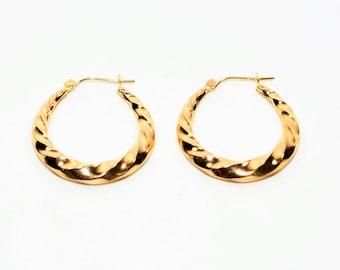 14kt Yellow Gold 4.75mm Twist Textured Hoop Statement Women's Earrings