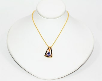 D'Block Tanzanite .50ct 14kt Yellow Gold Solitaire Statement Pendant Women's Necklace