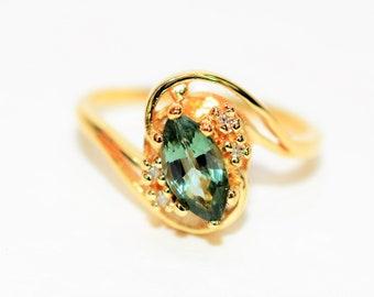 Alexandrite & Diamond 1.04tcw 14kt Yellow Gold Gemstone Marquise Women's Ring