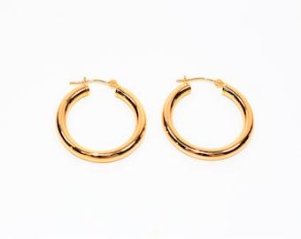 14kt Yellow Gold 24mm Shiny Fashion Hoop Statement Women's Earrings