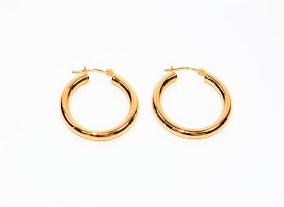 14kt Yellow Gold 24mm Shiny Fashion Hoop Statement