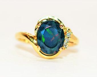 Ethiopian Black Welo Opal & Diamond 1.58tcw 14kt Yellow Gold Gemstone Women's Ring