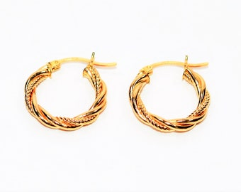 14kt Yellow Gold 20mm Double-Twist Textured Hoop Statement Women's Earrings