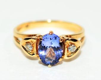 D'Block Tanzanite & Diamond 1.37tcwtcw 14kt Yellow Gold Women's Ring
