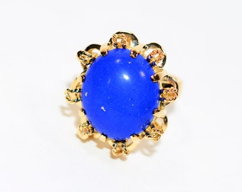 Lapis Lazuli 14kt Yellow Gold Solitaire Statement Cocktail Women's Ring