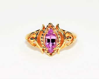Pink Ceylon Sapphire .70ct 10kt Yellow Gold Solitaire Marquise Women's Ring