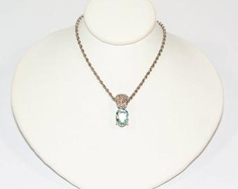 Paraiba Tourmaline & Diamond 2.50tcw 14kt White Gold Women's Necklace