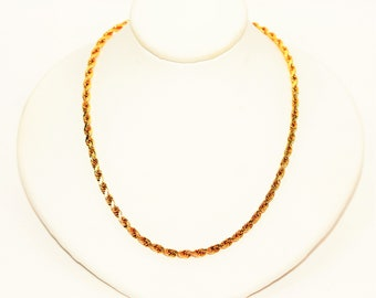 """10kt Yellow Gold 18"""" 2.50mm 10.9 Grams Twist Rope Chain Necklace"""