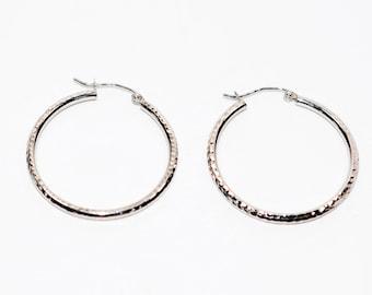14kt White Gold 2mm Textured Hoop Women's Earrings