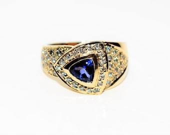 LeVian Blueberry Tanzanite & Diamond 1.36tcw 14kt Yellow Gold Women's Ring