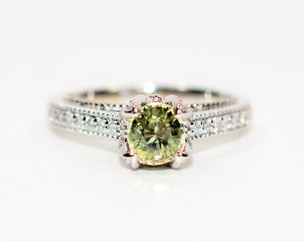GIA Certified Green Sapphire & Diamond 1.39tcw 14kt White Gold Engagement Women's Ring