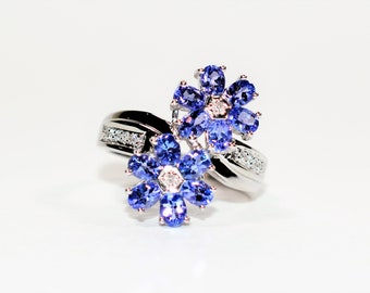 Tanzanite & Diamond 2.45tcw 18kt White Gold Flower Cluster Women's Ring