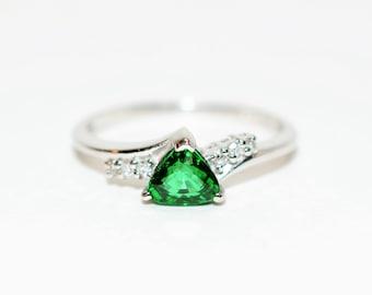 Tsavorite Garnet & Diamond .84tcw Platinum Fine Trillion Gemstone Women's Ring