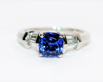 Verragio Certified D'Block Tanzanite & Diamond 2.51tcw Platinum Engagement Women's Ring