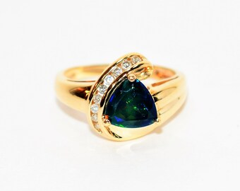 Ethiopian Black Welo Opal & Diamond 1.14tcw 10kt Yellow Gold Women's Ring
