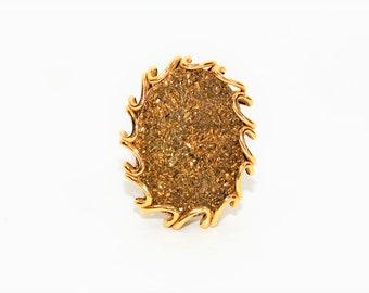 Gold Druzy 14kt Yellow Gold MILOR Italian Statement Solitaire Women's Ring