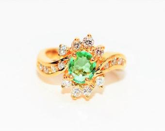 Paraiba Tourmaline & Diamond 1.39tcw 14kt Yellow Gold Fine Gemstone Women's Ring