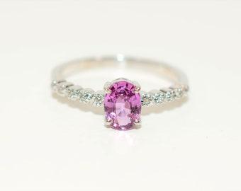 Padparadscha Sapphire & Diamond 1.04tcw 14kt White Gold Pink Pave Women's Ring