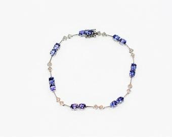Tanzanite & Diamond 7.21tcw 14kt White Gold Tennis Women's Bracelet