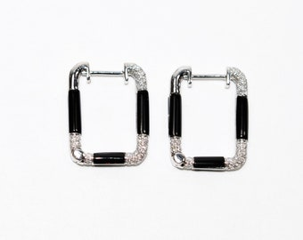 Simon G Diamond .32tcw 18kt White Gold Black Squared Designer Pave Hoop Earrings