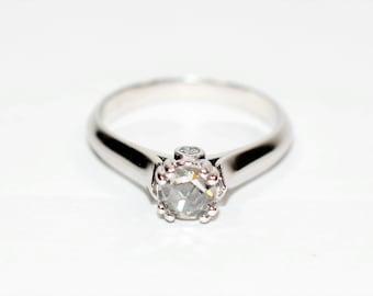 GIA Certified Rose Cut Diamond .53tcw White Gold Engagement Women's Ring