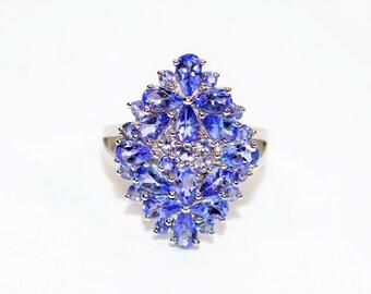 Tanzanite 5.11tcw 10kt White Gold Gemstone Cluster Statement Women's Ring