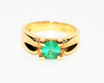Colombian Emerald 1.25ct 18kt Yellow Gold Statement Solitaire Men's Ring