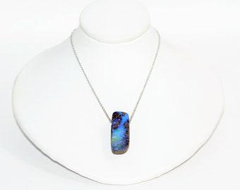 Australian Boulder Opal 26.08ct 14kt White Gold Pendant Women's Necklace