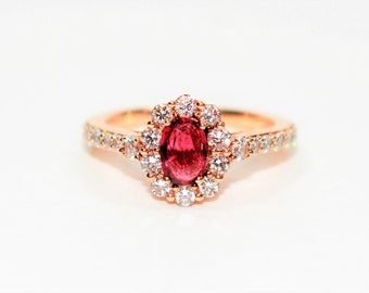 LeVian Ruby & Diamond 1.29tcw 14kt Rose Gold Pave Engagement Women's Ring