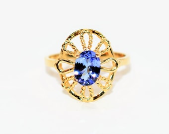 Tanzanite .90ct 14kt Yellow Gold Solitaire Statement Gemstone Women's Ring