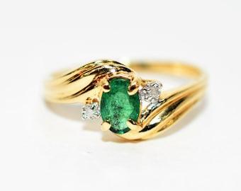 Zambian Emerald & Diamond .52tcw 10kt Yellow Gold Gemstone Women's Ring