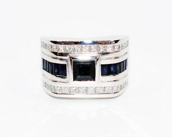 Blue Sapphire & Diamond 4.42tcw 14kt White Gold Statement Men's Ring