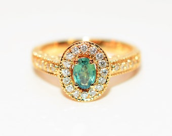 Alexandrite & Diamond .87tcw 14kt Yellow Gold Pave Halo Women's Ring