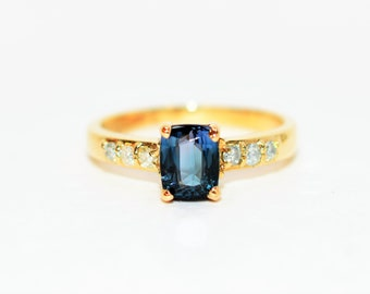 Indicolite Tourmaline & Diamond 1.18tcw 14kt Yellow Gold Fine Women's Ring