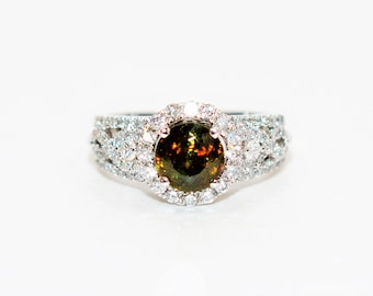 Sphene & Diamond 2.07tcw 18kt White Gold Pave Halo Engagement Women's Ring