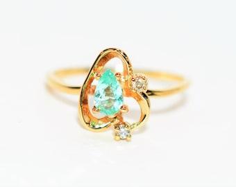 Paraiba Tourmaline & Diamond .36tcw 10kt Yellow Gold Fine Gemstone Women's Ring
